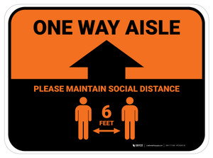 One Way Aisle - Please Maintain Social Distance with Icon Orange Rectangle - Floor Sign