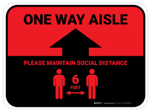One Way Aisle - Please Maintain Social Distance with Icon Red Rectangle - Floor Sign