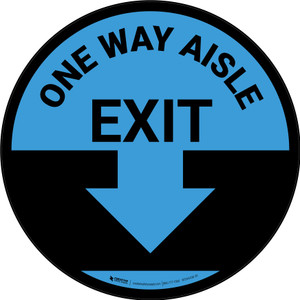 One Way Aisle Exit with Arrow Blue Circular - Floor Sign