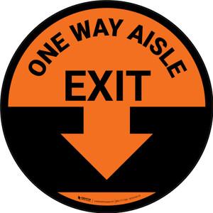One Way Aisle Exit with Arrow Orange Circular - Floor Sign