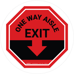 One Way Aisle Exit with Arrow Stop Circular - Floor Sign