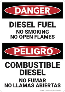 Danger: Bilingual Diesel Fuel No Smoking - Wall Sign