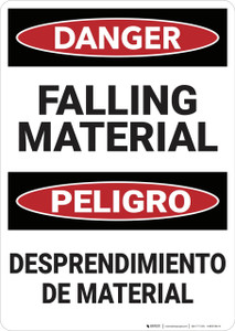 Danger: Bilingual Falling Material - Wall Sign
