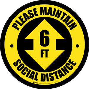 Please Maintain Social Distance with Arrow Yellow Circular - Floor Sign