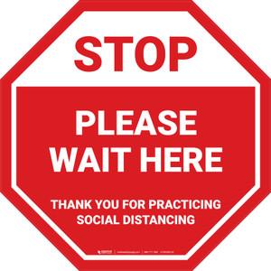 STOP: Please Wait Here Social Distancing STOP - Floor Sign