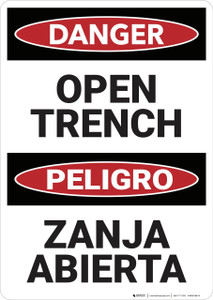 Danger: Bilingual Open Trench - Wall Sign