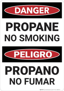 Danger: Bilingual Propane No Smoking - Wall Sign