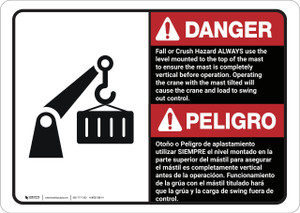 Danger: Bilingual Fall Or Crush Hazard  - Wall Sign