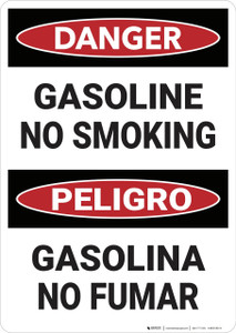 Danger: Bilingual Gasoline No Smoking - Wall Sign