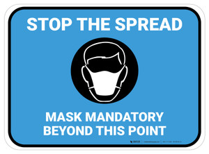 Stop The Spread - Mask Mandatory with Icon Blue Rectangle - Floor Sign