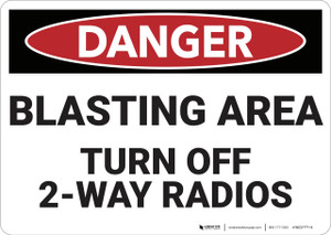 Danger: Blasting Area Turn Off Radios - Wall Sign