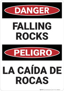 Danger: Danger Falling Rocks - Wall Sign