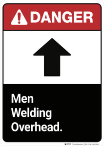 Danger: Men Welding Overhead ANSI - Wall Sign
