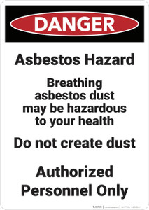 Danger: Asbestos Hazard Breathing - Wall Sign