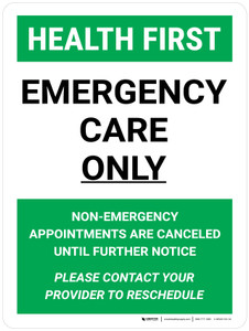 Health First: Emergency Care Only Portrait - Wall Sign