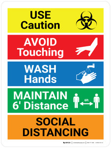 Use Caution COVID-19 with Icons Portrait - Wall Sign