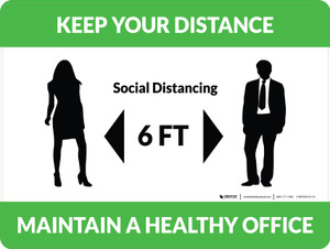 Keep Your Distance - Maintain a Healthy Office with Icon Green Landscape - Wall Sign