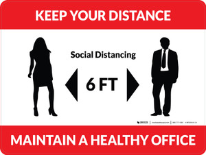 Keep Your Distance - Maintain a Healthy Office with Icon Red Landscape - Wall Sign