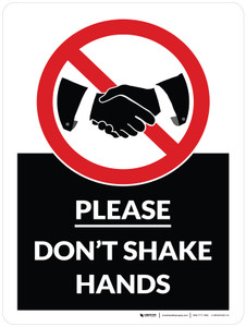 Please Don't Shake Hands with Icon Portrait - Wall Sign