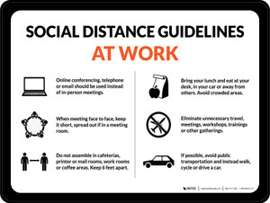 Social Distance Guidelines At Work with Icons Landscape - Wall Sign