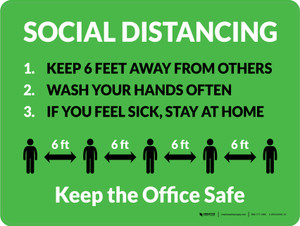 Social Distancing Keep the Office Safe with Icons Green Landscape - Wall Sign