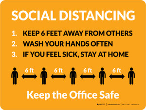Social Distancing Keep the Office Safe with Icons Orange Landscape - Wall Sign