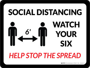 Social Distancing Watch Your Six with Icon Landscape - Wall Sign
