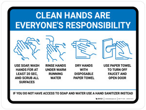 Clean Hands Are Everyones Responsibility with Icons Blue Landscape - Wall Sign