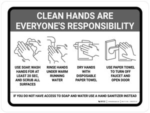 Clean Hands Are Everyones Responsibility with Icons Gray Landscape - Wall Sign
