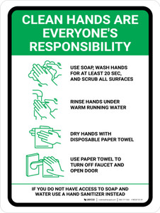 Clean Hands Are Everyones Responsibility with Icons Green Portrait - Wall Sign