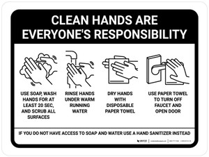 Clean Hands Are Everyones Responsibility with Icons Landscape - Wall Sign