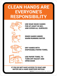 Clean Hands Are Everyones Responsibility with Icons Orange Portrait - Wall Sign