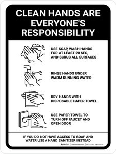 Clean Hands Are Everyones Responsibility with Icons Portrait - Wall Sign