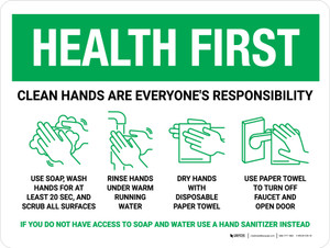 Health First: Clean Hands Are Everyones Responsibility with Icons Landscape - Wall Sign