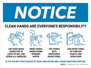 Notice: Clean Hands Are Everyones Responsibility with Icons Landscape - Wall Sign