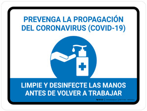 Prevent Coronavirus - Wash And Sanitize Hands Before Returning To Work Spanish with Icon Landscape - Wall Sign