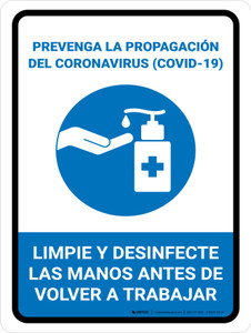 Prevent Coronavirus - Wash And Sanitize Hands Before Returning To Work Spanish with Icon Portrait - Wall Sign
