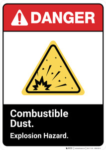Danger: Combustible Dust Explosion Hazard ANSI - Wall Sign