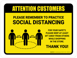 Attention: Customers Remember Social Distancing with Icon Landscape - Wall Sign
