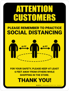 Attention: Customers Remember Social Distancing with Icon Portrait - Wall Sign