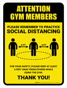 Attention: Gym Members Remember Social Distancing with Icon Portrait - Wall Sign