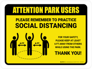 Attention: Park Users Remember Social Distancing with Icon Landscape - Wall Sign
