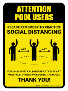 Attention: Pool Users Remember Social Distancing with Icon Portrait - Wall Sign