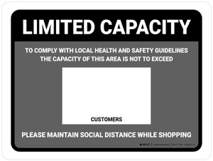 Limited Capacity: Maintain Social Distancing While Shopping Gray Landscape - Wall Sign