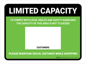 Limited Capacity: Maintain Social Distancing While Shopping Green Landscape - Wall Sign