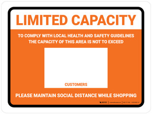 Limited Capacity: Maintain Social Distancing While Shopping Orange Landscape - Wall Sign