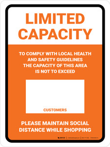 Limited Capacity: Maintain Social Distancing While Shopping Orange Portrait - Wall Sign