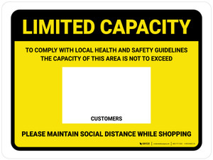 Limited Capacity: Maintain Social Distancing While Shopping Yellow Landscape - Wall Sign