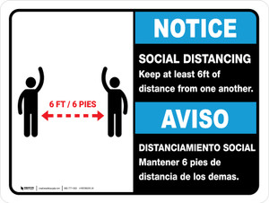 Notice: Social Distancing Keep 6ft Bilingual with Icon ANSI Landscape - Wall Sign