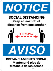 Notice: Social Distancing Keep 6ft Bilingual with Icon Portrait - Wall Sign